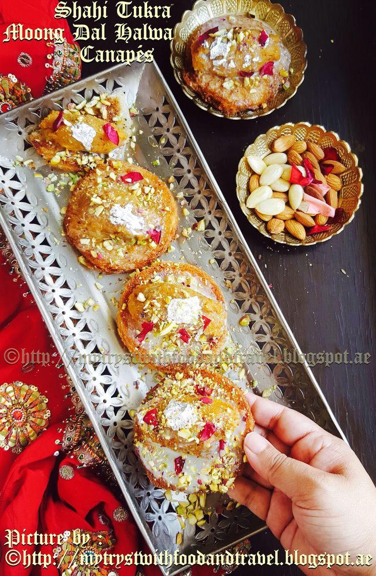 My Tryst With Food And Travel: Shahi Tukra & Moong Dal Halwa Canapés Recipe / Holi Recipes ~ Holi Hai !!