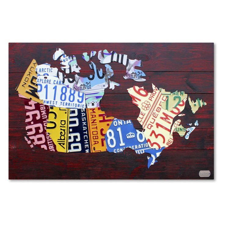 Trademark Fine Art Canada License Plate Map Canvas Wall Art - ALI1300-C1219GG