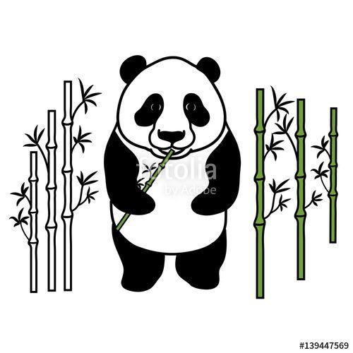Вектор: Panda with bamboo. Hand drawing.