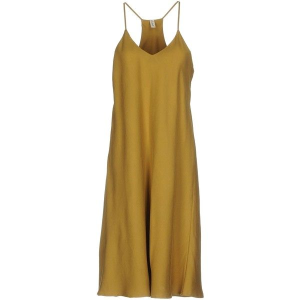 Souvenir Knee-length Dress ($99) ❤ liked on Polyvore featuring dresses, khaki, yellow dresses, sleeveless dress, khaki dress, logo dress and v neckline dress