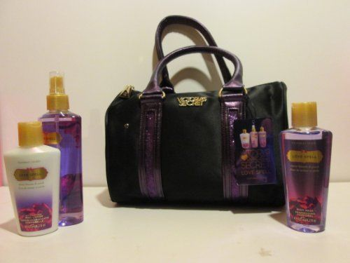 Victoria's Secret Love Spell Gift Bag Set Fragrance Mist Lotion Wash Purse by Victoria's Secret. $31.95. 1 Love Spell Fragrance Mist 8.4 fl oz. 1 Love Spell Body Lotion 4.2 fl oz. 1 Black Purse. 1 Love Spell Body Wash 4.2 fl oz. Victoria's Secret Love Spell Gift Set includes:. Victoria's Secret Love Spell Gift Set