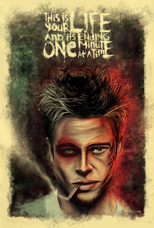 THIS ONE FOR THE NEW YEAR!........  TYLER DURDEN made of \' THE NARRATOR\'...    happy 2013!!...    LOOK closer too see the details!