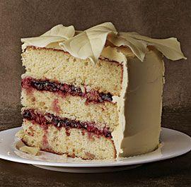 White Chocolate Macadamia Cake with Raspberries and White Chocolate Buttercream