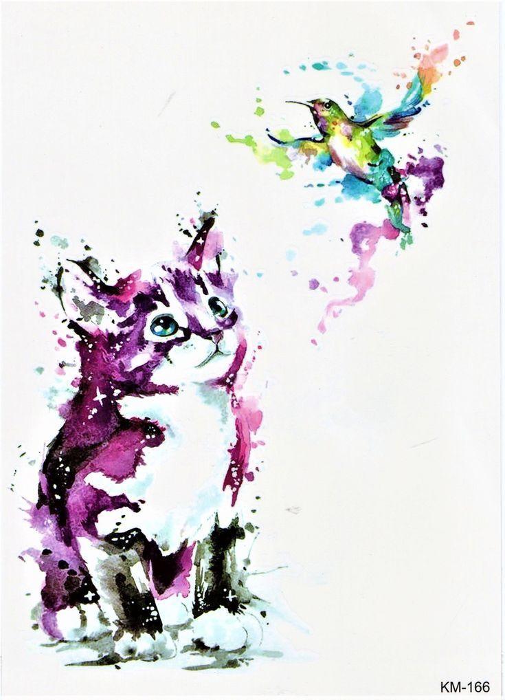 Katze Vogel Niedlich Bunt Tier Aquarell Malerei Temporary