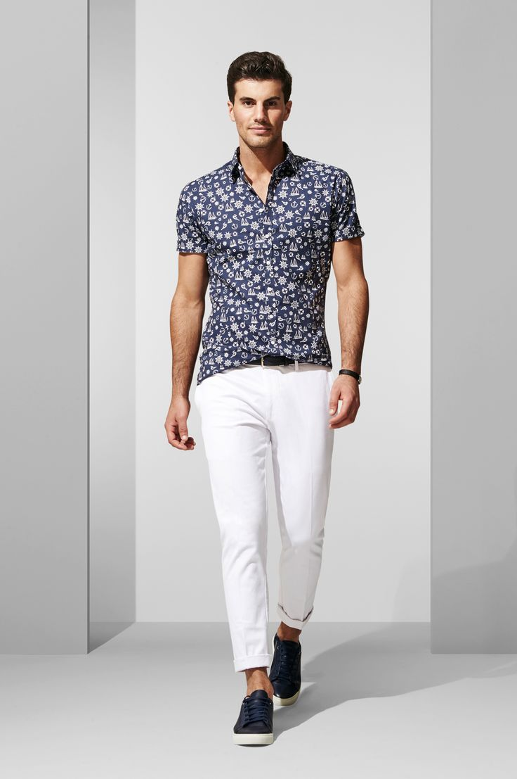 The Nautical SS Shirt and White Cropped Chinos. Shop the look at http://www.calibre.com.au/lookbook/look-370