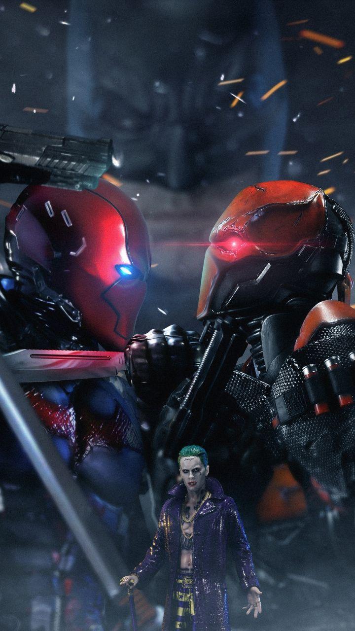 Joker Red Hood Deathstroke Super Villain Dc Comics Art 720x1280 Wallpaper Deathstroke Comic Villains Dc Comics Art