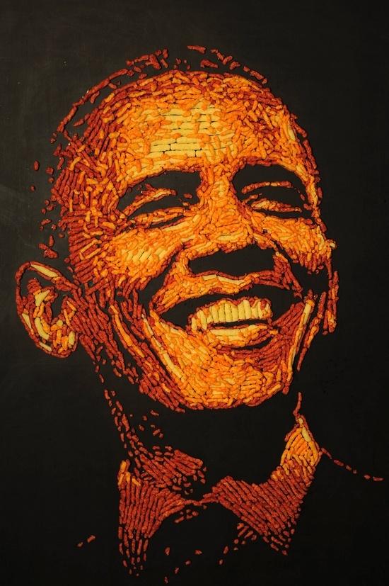 #obama #cheetos. portrait of Obama made of Cheetos!