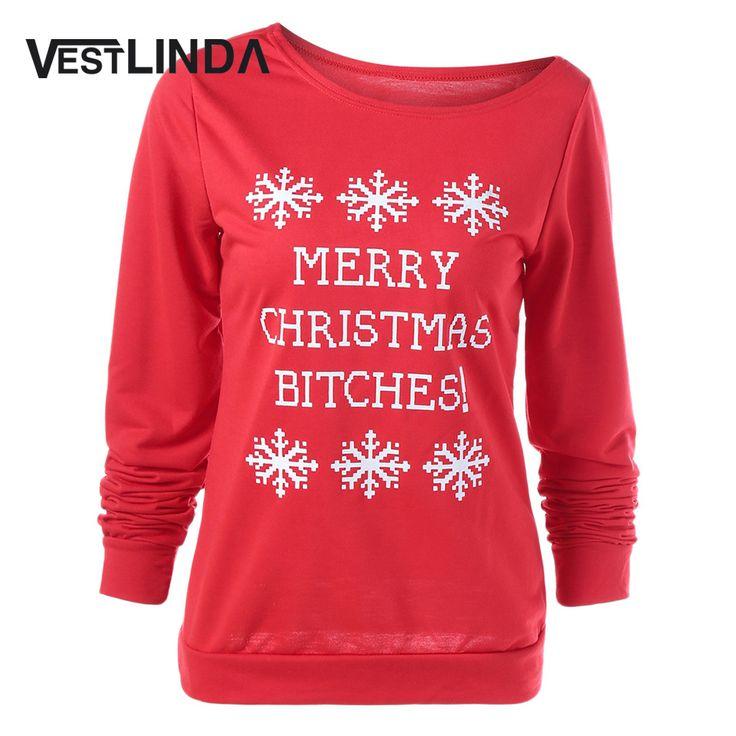 VESTLINDA Fashion Women Merry Christmas Sweatshirt Tops Letters Print Pullover Snowflake Hoodie Christmas Jumper Plus Size