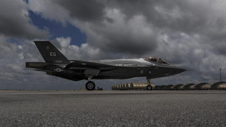 An F-35A Lightning II taxis across the flightline on Eglin Air Force Base, May 28, 2014. (U.S. Air Force photo/Senior Airman Christopher Callaway)
