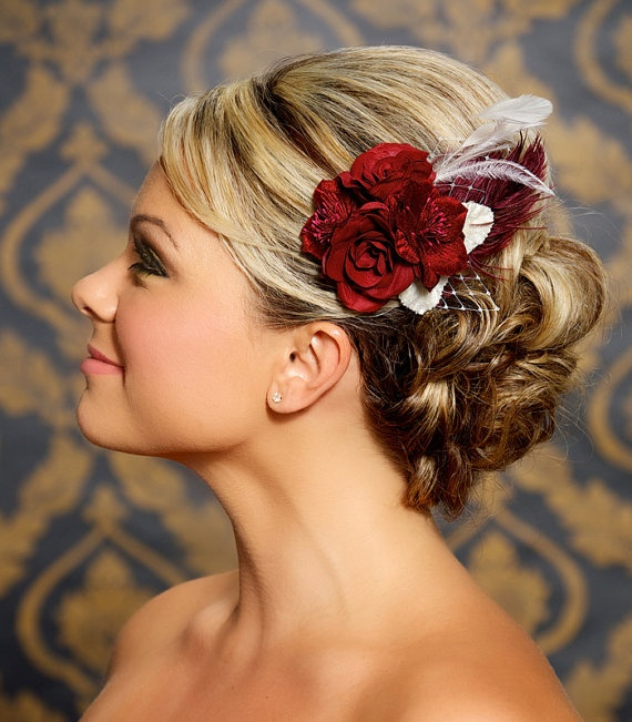 Love this look for wedding hair and the accent of the red flower (but in my flower style)