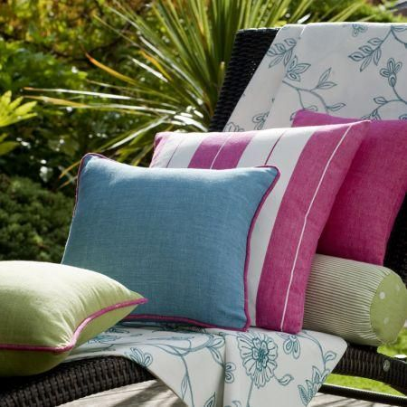 Clarke and Clarke -  Riviera Fabric Collection - Colourful monochrome and striped cotton cushions and white fabric with blue floral design