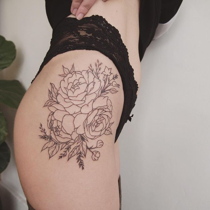 Peonies on thigh - tattoo people toronto - jess chen