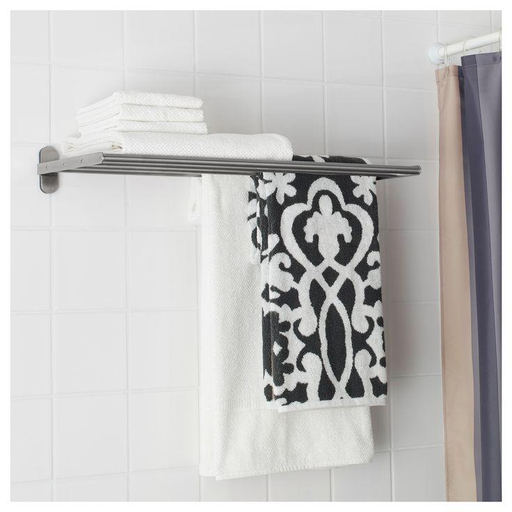 IKEA - BROGRUND Wall shelf with towel rail stainless steel