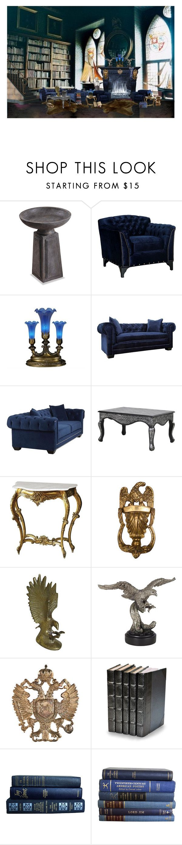 """Ravenclaw common room"" by leopardwolf ❤ liked on Polyvore featuring interior, interiors, interior design, home, home decor, interior decorating, Thos. Baker, Universal Lighting and Decor, Meyda and Relique"