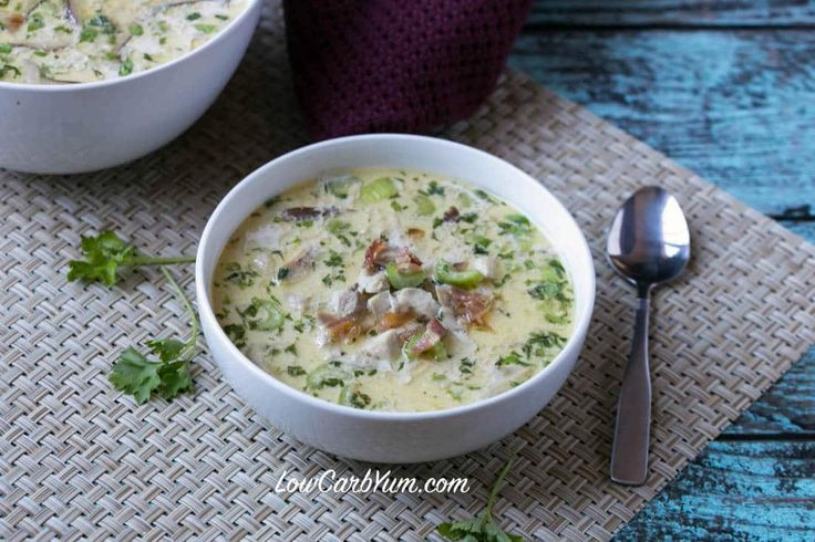 Warm up with some delicious low carb cream of chicken soup with bacon and mushrooms. It's sure to take the chill out on a cool day and satisfy hunger.