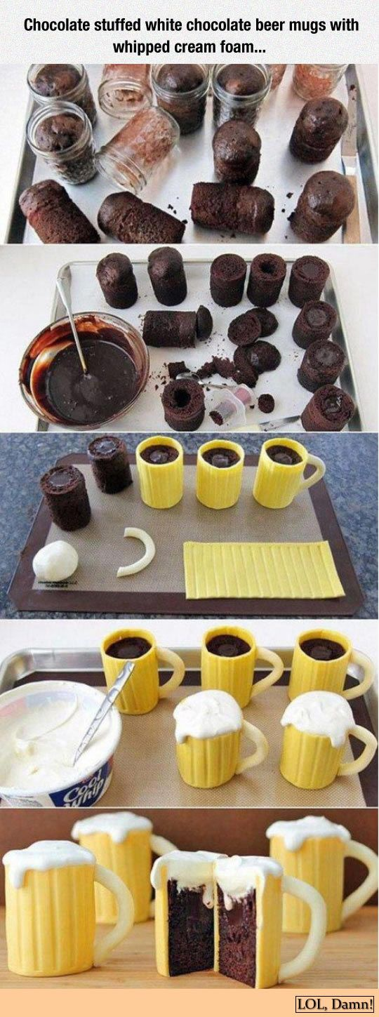 How to make beer mug #cakes: Steps and recipes to make beer mugs with white #chocolate and whipped cream foam.