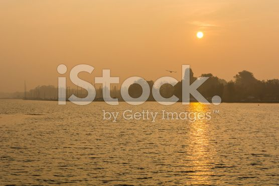 Lake and the harbor in the fog in the morning royalty-free stock photo
