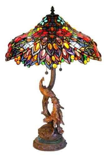 Tiffany Peacock Base Stained Glass Table Lamp