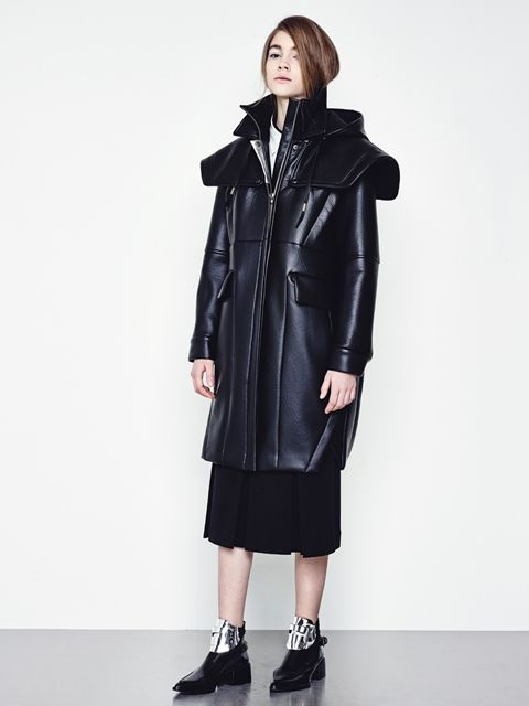 CRES. E DIM. - ]14 F/W LEATHER LONG JUMPER COAT BLACK