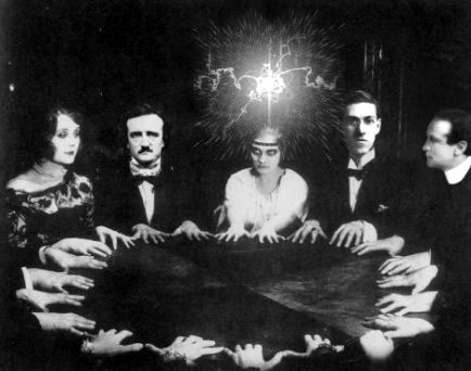 Same seance pic with Edgar Allen Poe, other faces, light, superimposed