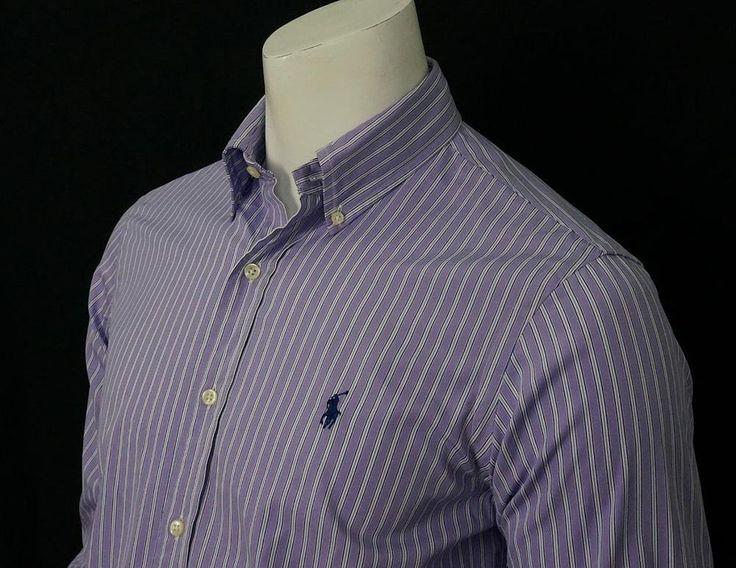 Ralph Lauren Striped Shirt Button Down Collar 100% Cotton Embroidered Pony sz 15 #RalphLauren