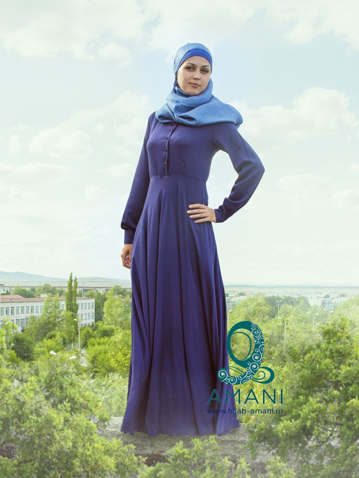 Nafisa dress - great summer pattern on every day for Muslim women who appreciate quality and comfort. Style of dress is designed for women of all ages. Ease in dark blue dress can be compensated headdress light shades. Muslim woman in color dress deep blue like a paradise tree in whose shadow you can find peace and tranquility. Fabric made from natural cotton will ensure a pleasant contact with the body, it is hygroscopic and breathable.