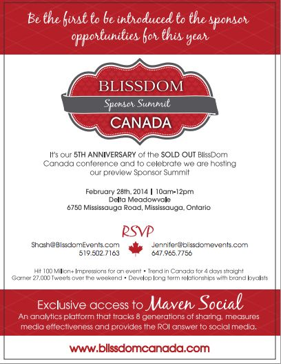 RSVP by Feb 25 for our BlissDom Canada 2014 Sponsor Summit taking place on Feb 28 at Delta Meadowvale in Mississauga