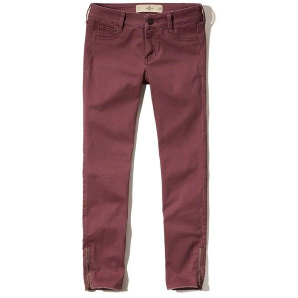 Hollister Low-Rise Crop Pants (€24) ❤ liked on Polyvore featuring pants, capris, burgundy, cropped pants, red pants, zip pants, red crop pants and zipper trousers