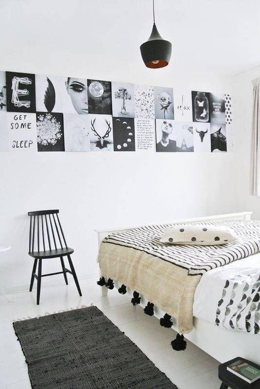 Kis hálószobák, nagy ötletek - a fekete és a fehér kis hálószobába is tökéletes párosítás.
