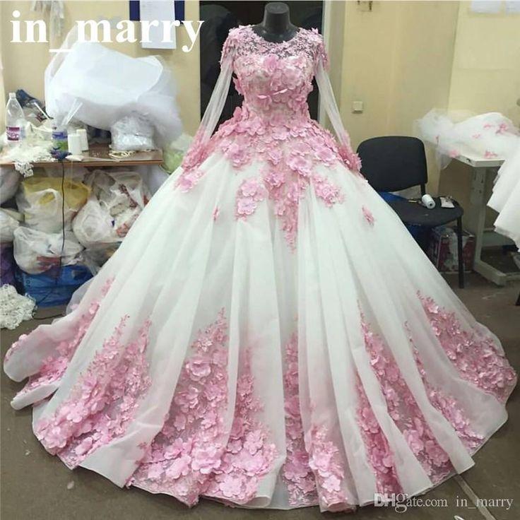Pink 3D Floral Ball Gown Wedding Dresses 2017 Muslim Islamic Long Sleeves Puffy Tulle African Dubai Arabic Bridal Gowns Vestido De Novia