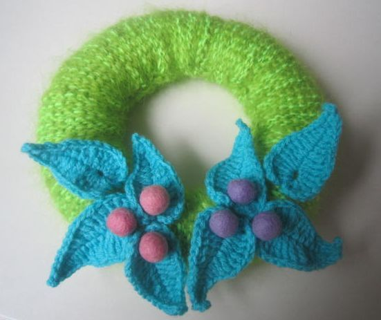 vægkrans hakket/hæklet wreath for the wall tunisian crochet /crochet