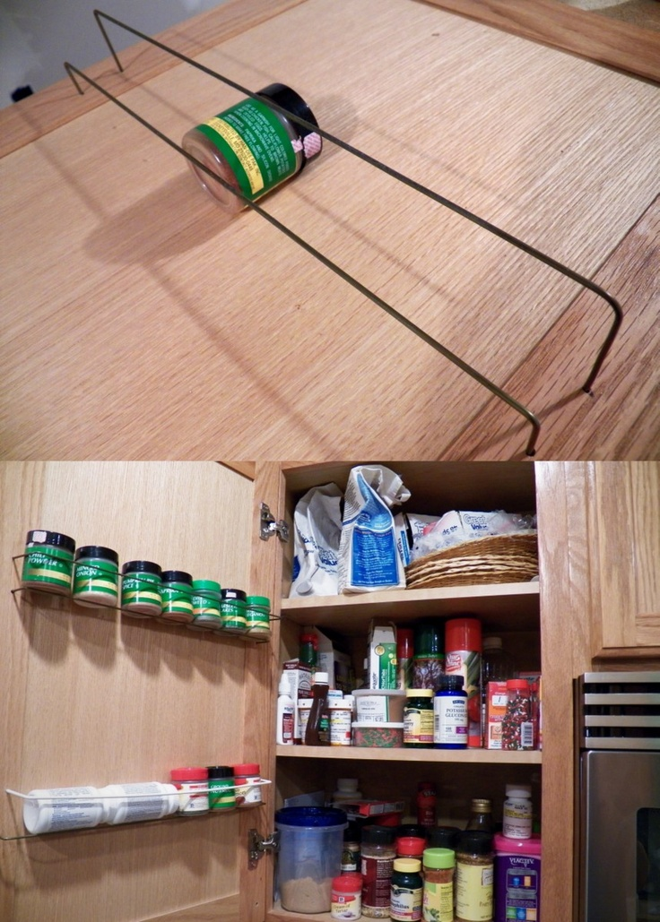 "DIY Spice Rack using a metal coat hanger. Directions: Use a pencil to mark the location & heights. Remove door from the hinges. Drill into the stiles of the door(outer frame). Make sure to measure the depth & drill about 1/2"" of the 3/4"". Make 4 holes & use the spice container for reference. Make sure to avoid the cabinet or shelves when the door closes. Bend coat hanger, trim and superglue it in the holes. I put the spice rack just under the shelf above so short items can be on the shelf…"