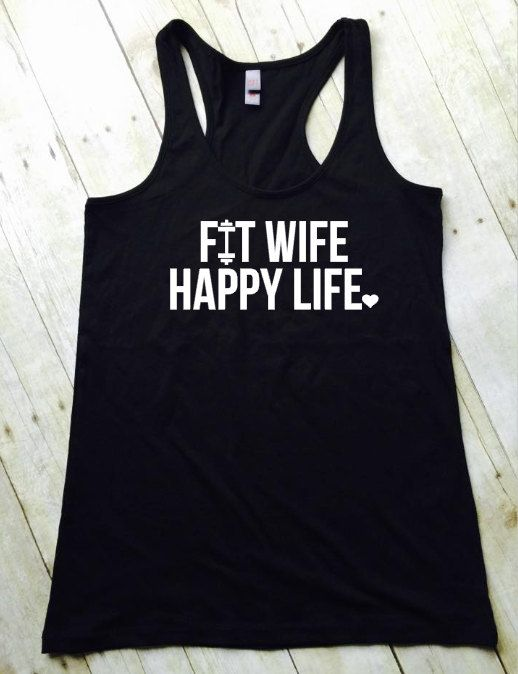 Fit Wife Happy Life Tank, Workout Clothes, Gym Tank, Running Tank, Wifey Tank, Fitness Apparel, Gift For Her