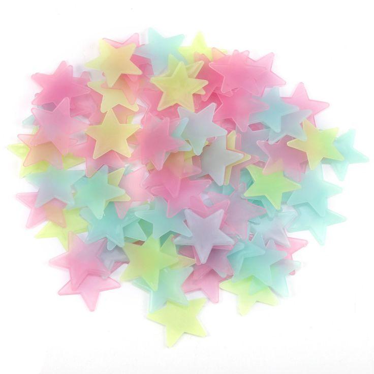 100 Pcs DIY Colorido Adesivos De Parede Luminosa Estrela Etiqueta Fluorescente Brilham No Escuro Estrelas Do Bebê Crianças Quarto Decalque Casa decoração em Adesivos de parede de Home & Garden no AliExpress.com | Alibaba Group