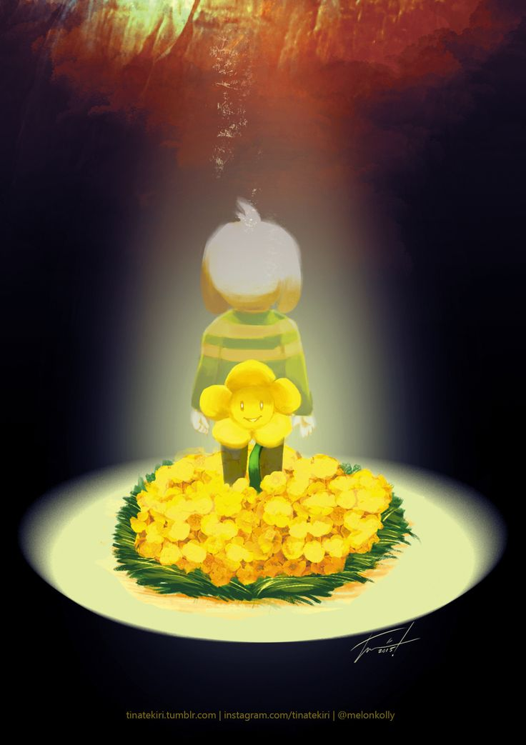 """hopes and dreams  ""  redrawing of an old undertale piece with flowey (and a friend)"