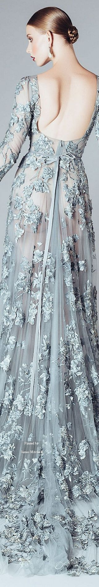 Alfazairy ~ Couture Silver Grey Applique Open Back Gown, FW 2015-16