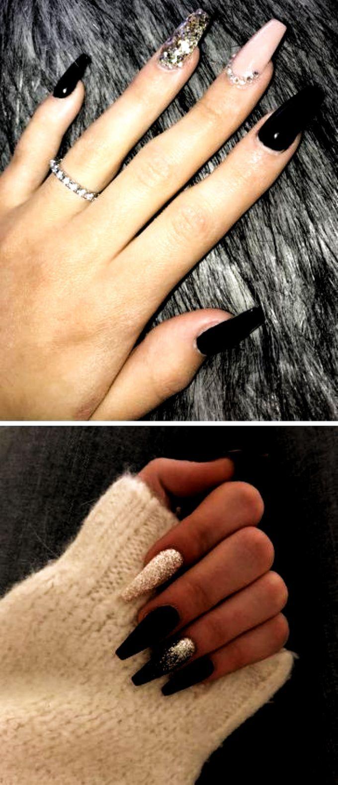 Black Coffin Nails Nails Acrylic Fall Colors In 2020 Black Coffin Nails Coffin Nails Drip Nails