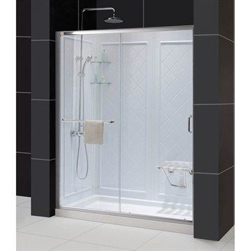 "Bath Authority DreamLine Infinity-Z Frameless Sliding Shower Door, Single Threshold Shower Base and QWALL-5 Shower Backwalls Kit (30"" by 60"")"