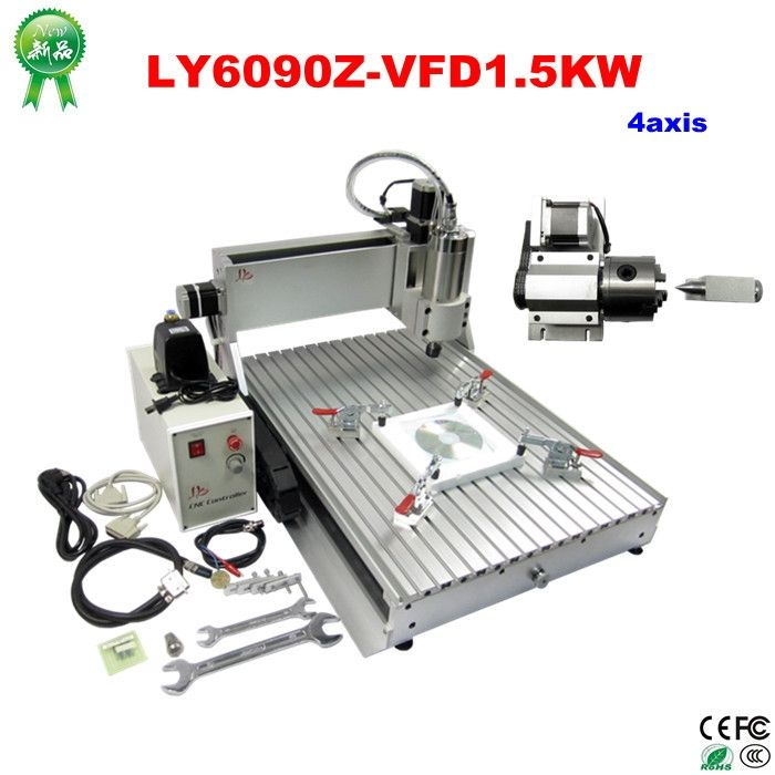 2571.00$  Watch now - http://aliv4s.worldwells.pw/go.php?t=32404863206 - 3D CNC Router 6090, 1.5KW water coolde spindle, 4 axis metal carving drilling milling machine 2571.00$