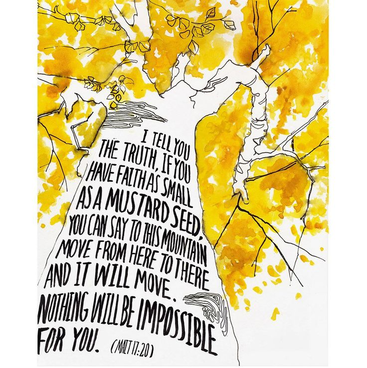 """Archival print created from an original watercolor illustration based on Scripture. The artwork features a giant mustard colored tree with handlettered words in the trunk of verses from the Bible, """"I"""