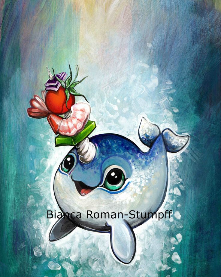"""Narwhal Shish Kabob"" by Bianca Roman-Stumpff, signed 8X10 print, donated by the artist"