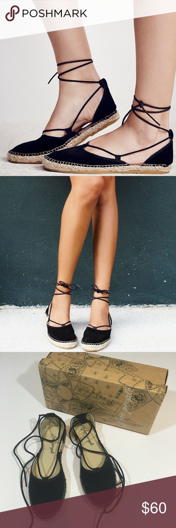 Free People Black Suede Marina Lace Up Espadrille So cute and perfectly on trend! Brand new in the box. Size 6. Black suede. No trades!! 012217130mf Free People Shoes Espadrilles
