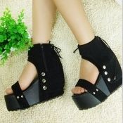 $13.49 Fashion Rivet Bow Tie Back Lace-up Super High Wedge Black Suede Ankle Strap Sandals