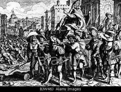 "geography / travel, Italy, Rome, ""Sacco di Roma"", 1527, conquest by imperial troops, German lansquenets ridiculing the pope, cop Stock Photo"