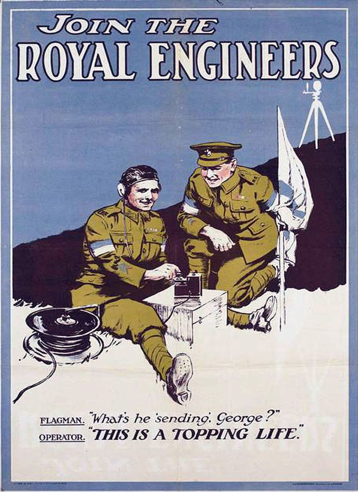 """WW1 ROYAL ENGINEERS RECRUITMENTS POSTER 8""""X6"""" METAL PLAQUE BN/12 in Collectables, Militaria, World War I (1914-1918) 