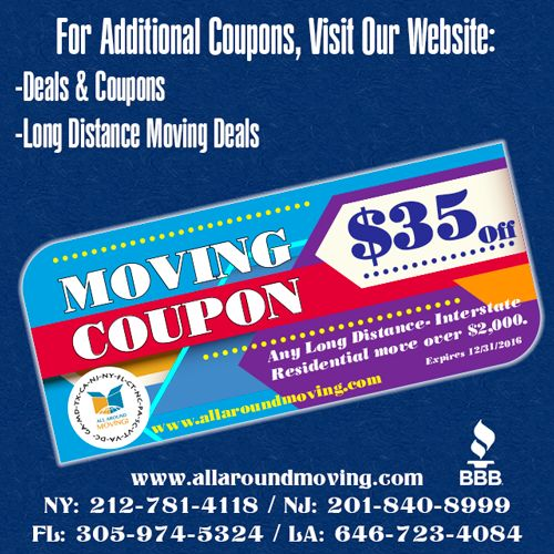 Moving Coupons www.allaroundmoving.com