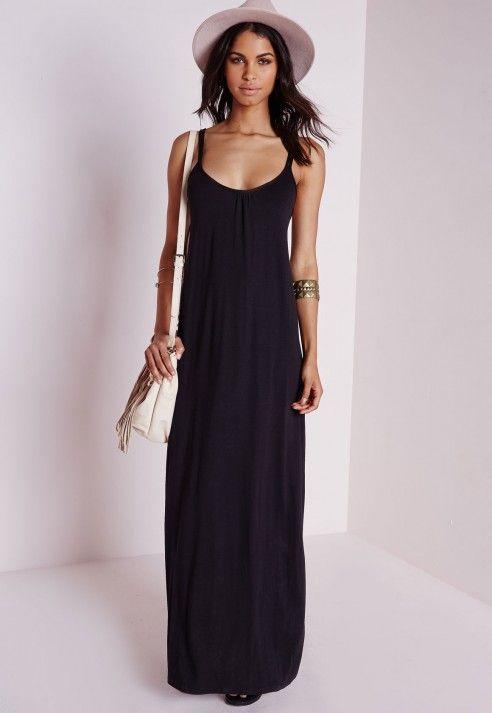 Robe longue noire fines bretelles