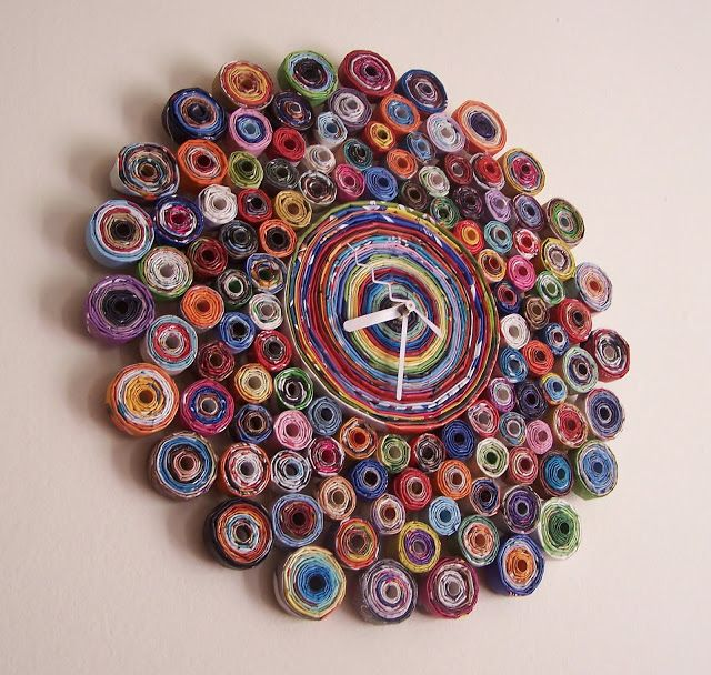 Recycled Magazine Clock.  http://brandyfisher.blogspot.com/2012/05/recycled-magazine-clock.html#