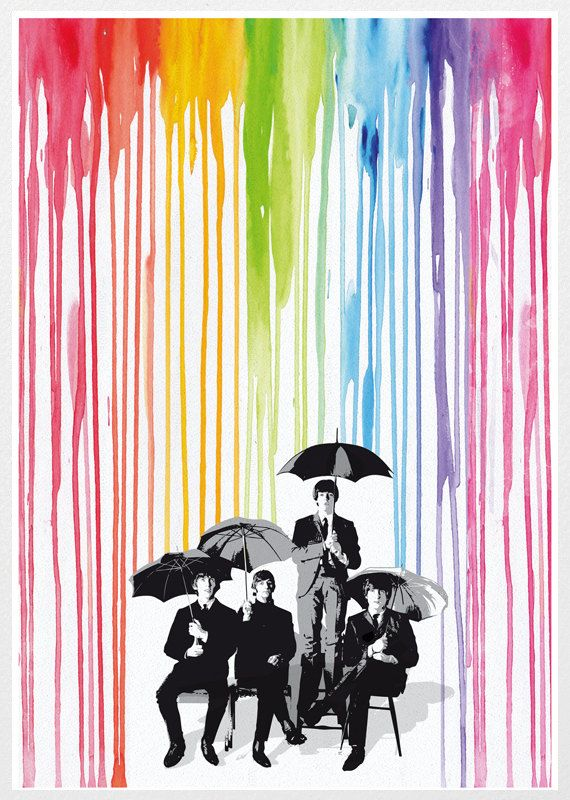 The Beatles rainbow pop style poster