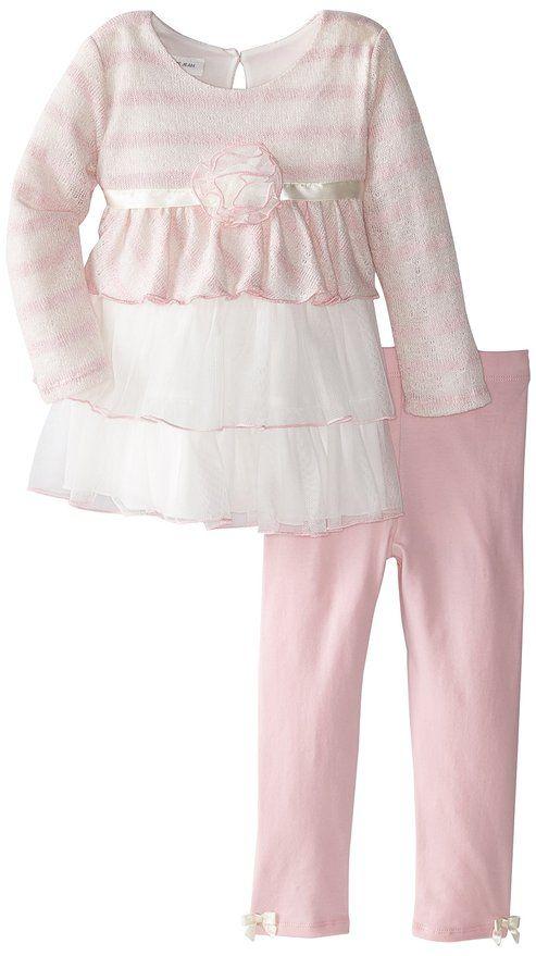 Bonnie Jean Little Girls' Triple Tiered Knit Playwear Set, Pink, 6